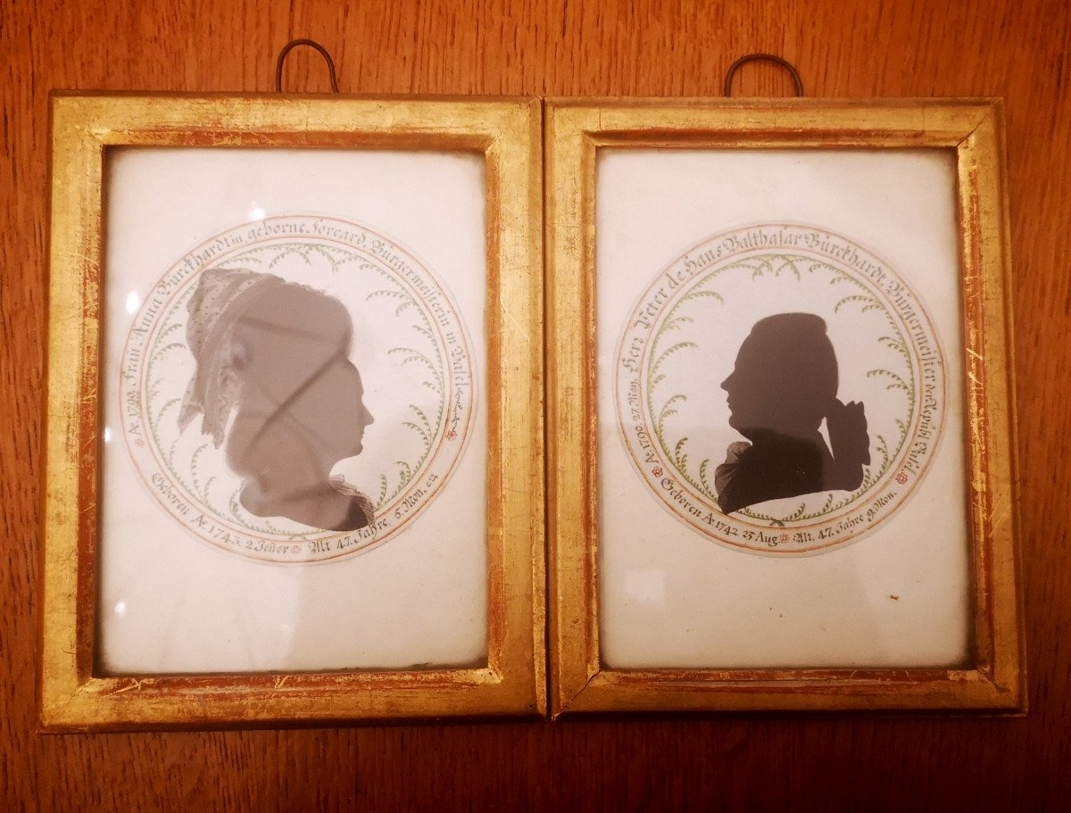Portraits En Silhouettes Encre De Chine Et Aquarelle Fin XVIIIe