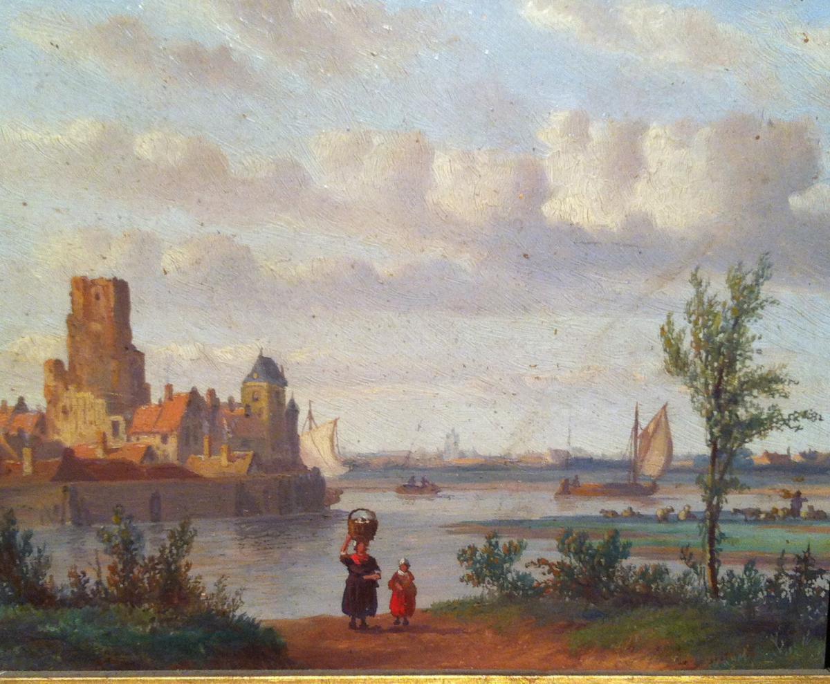 """""""women In A Landscape Of Walled Riverside City"""""""