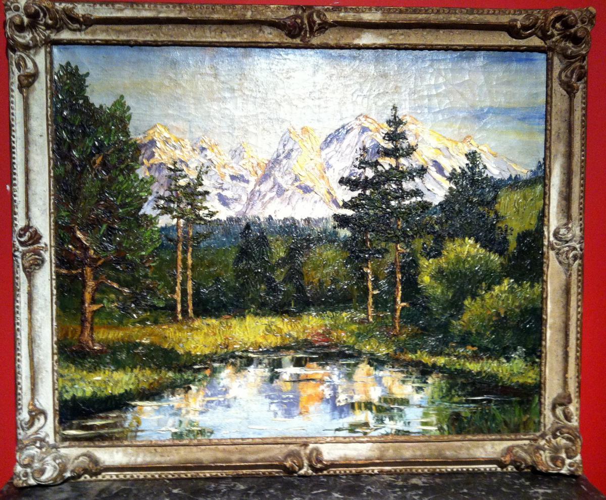 paysage de lac de montagne cadre montparnasse tableaux paysages. Black Bedroom Furniture Sets. Home Design Ideas