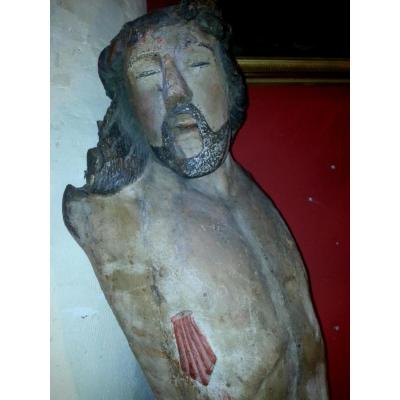 Grand Christ En Bois Polychrome Bourgogne ? XVI ème Siecle