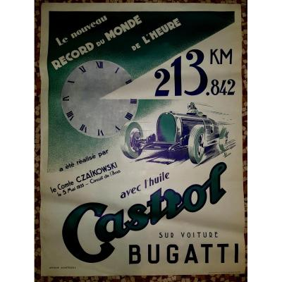 Affiche castrol/ Bugatti .1933.