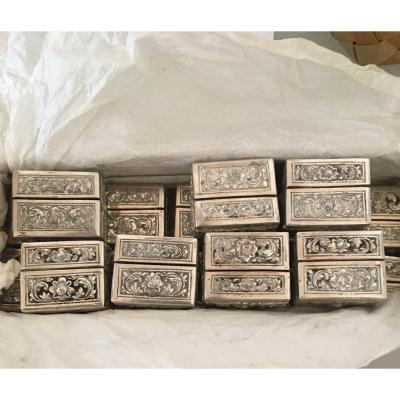 Series Of Silver Table Card Holders, Cambodian Work Early 20th