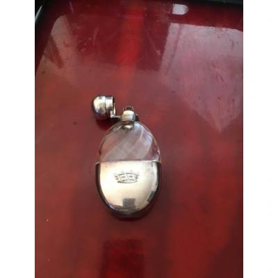 Small Sormani Crystal And Silver Flask
