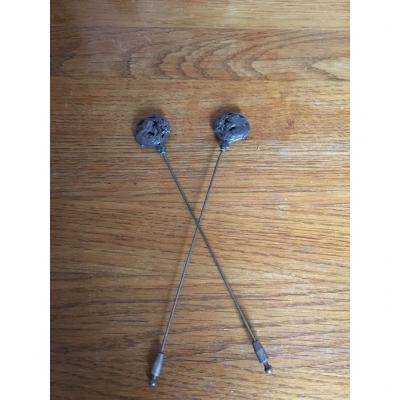 Pair Of Silver Hairpins, Art Nouveau