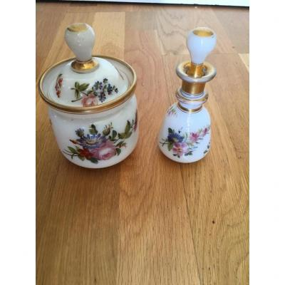 Opaline 19th - Bottle And Covered Pot