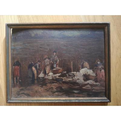 The Lavandieres, Oil On Cardboard