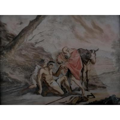 Painting Fixed Under Glass - 3 Figures And 1 Animal