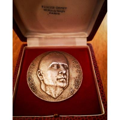 Georges Pompidou Silver Table Medal By Claude Fraisse