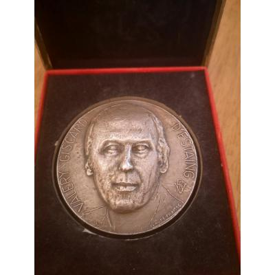 Silver Table Medal Valery Giscard d'Estaing By Claude Fraisse