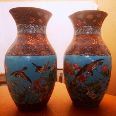 Paires De Vases En émail Cloisonné Japon XIXe