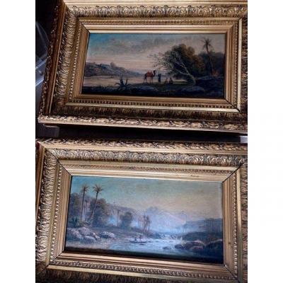 Paire De Tableaux Paysages Orientalistes Animés Par G.ben Fin XIXe