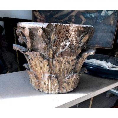 Chapiteau Bois Doré (noyer) Décor De Feuilles d'Acanthe époque XVIIe