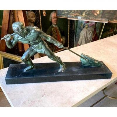 """Bronze """"haleur"""" ou """"l'effort"""" par Gory 1930"""