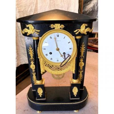 Gantry Clock Marble And Gilt Bronze Eighteenth
