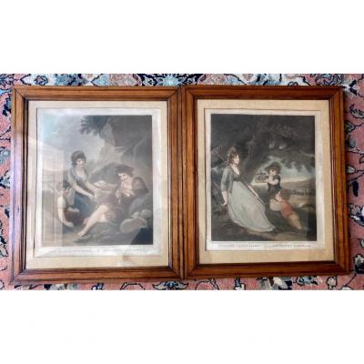 """2 Gravures """"Musique pastorale"""" et """"Amusement pastorale"""" d'aprés H.Lingleton XIXe"""