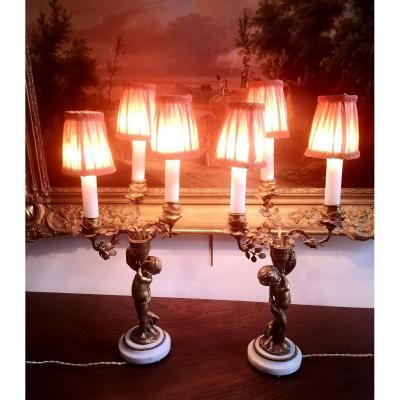 Paire De Lampes Amour Bronze Fin XIXe