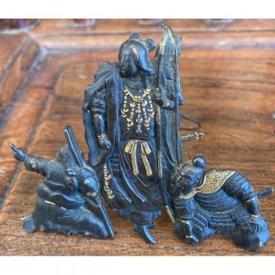 Figurines Japon En Laiton Patiné Et Doré XIXe