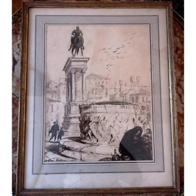 André Maire (1898-1984) Lavis Sur Papier Venise Statue Du Colleone 1924