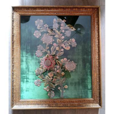 Bouquet De Fleurs En Broderie Fin XVIIIe Début XIXe