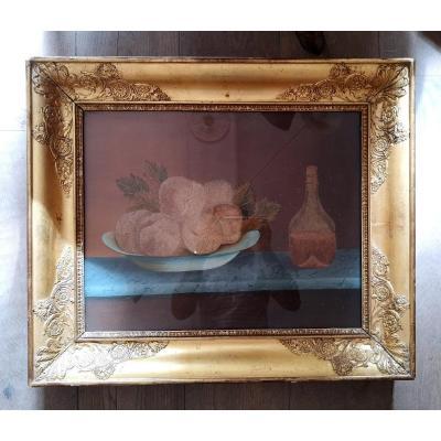 """Broderie époque Restauration """"Nature Morte Aux Fruits Et Au Pichet"""""""