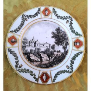 Assiette En Porcelaine Début XIXe Vue d'Italie