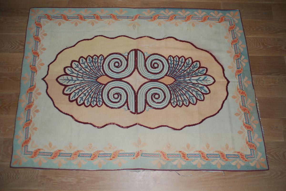 tapis fran ais ancien au point 190cmx140cm tapis. Black Bedroom Furniture Sets. Home Design Ideas