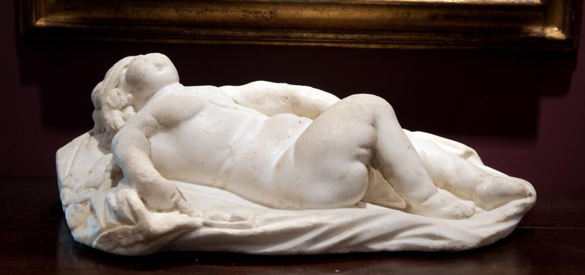 Sculpture En Marbre Blanc, Italie XVIIème Siècle. Eros Endormi-photo-2