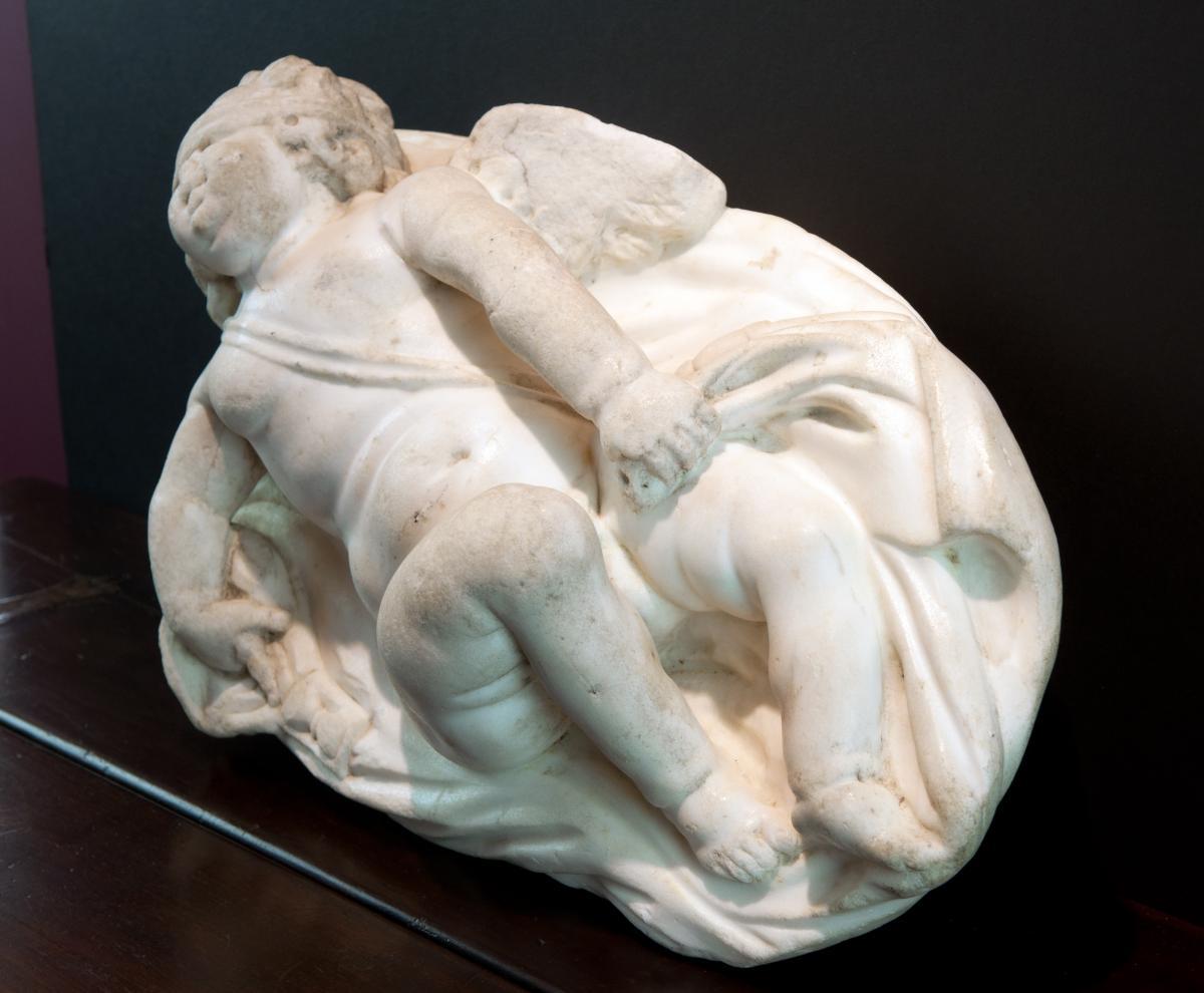 Sculpture En Marbre Blanc, Italie XVIIème Siècle. Eros Endormi-photo-4