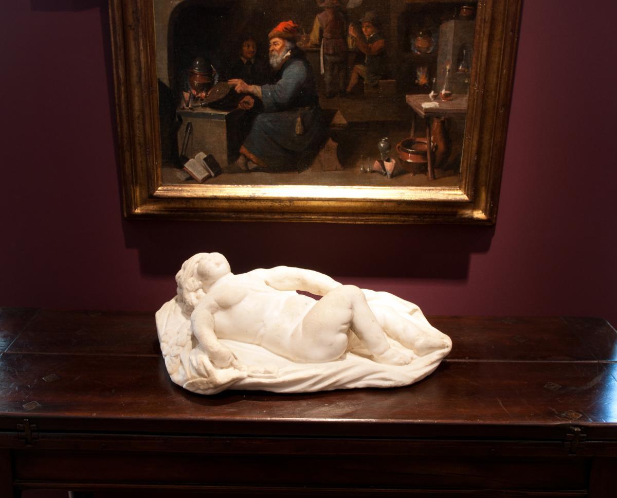 Sculpture En Marbre Blanc, Italie XVIIème Siècle. Eros Endormi-photo-1