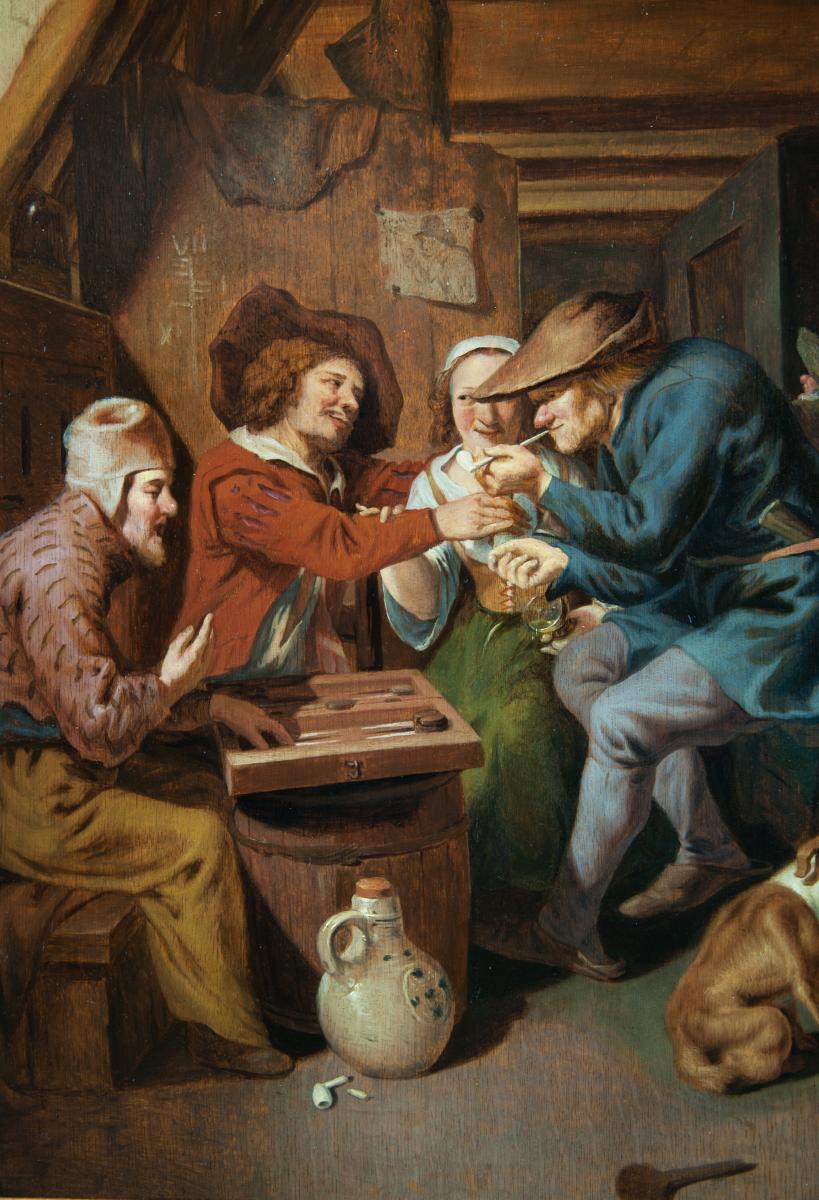 Les Joueurs de Trictrac. Ecole Hollandaise milieu du XVIIème Siècle