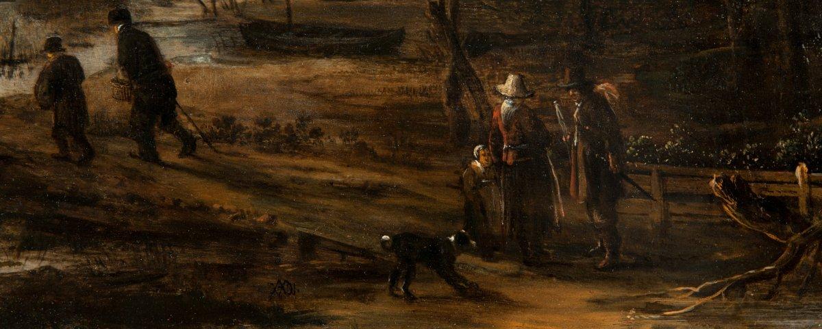 Paysage au clair de lune animé de personnages par d'Aert van der Neer (1603-1677)