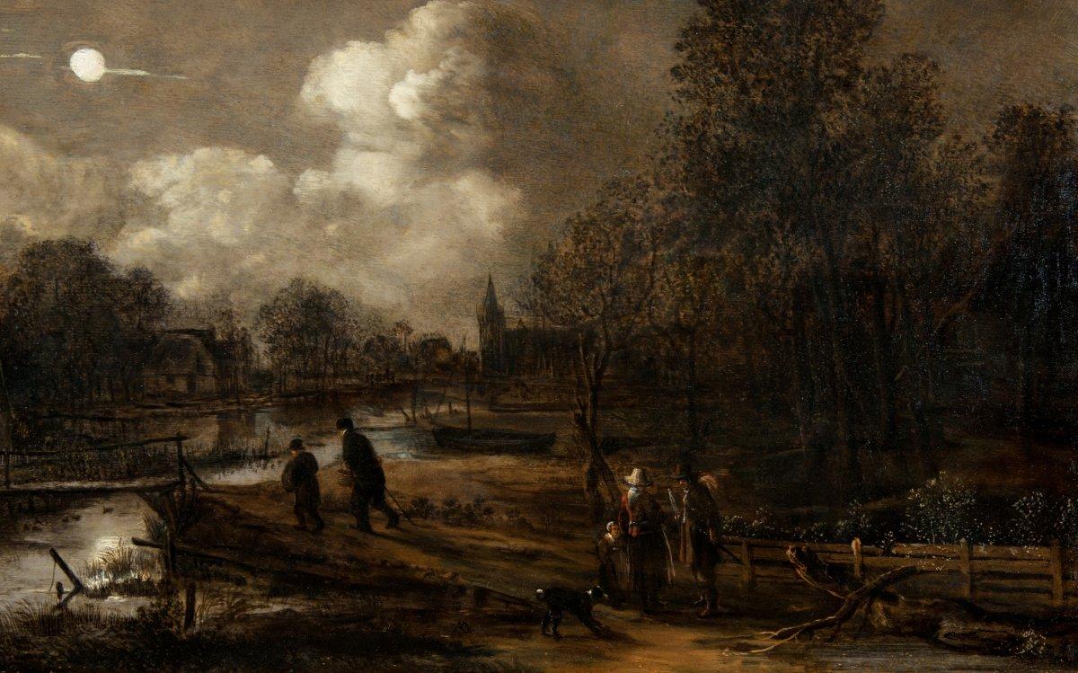 Landscape In The Moonlight Animated Characters By Aert Van Der Neer (1603-1677)
