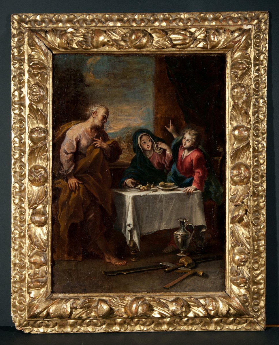 The Meal Of The Holy Family. Venetian School Of The Early Eighteenth Century.