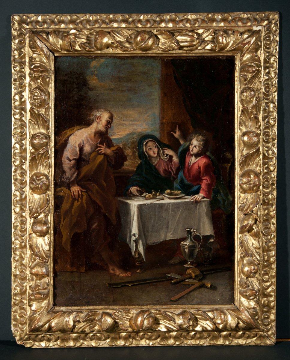 Le repas de la Sainte Famille. École Vénitienne du début du XVIIIème siècle.