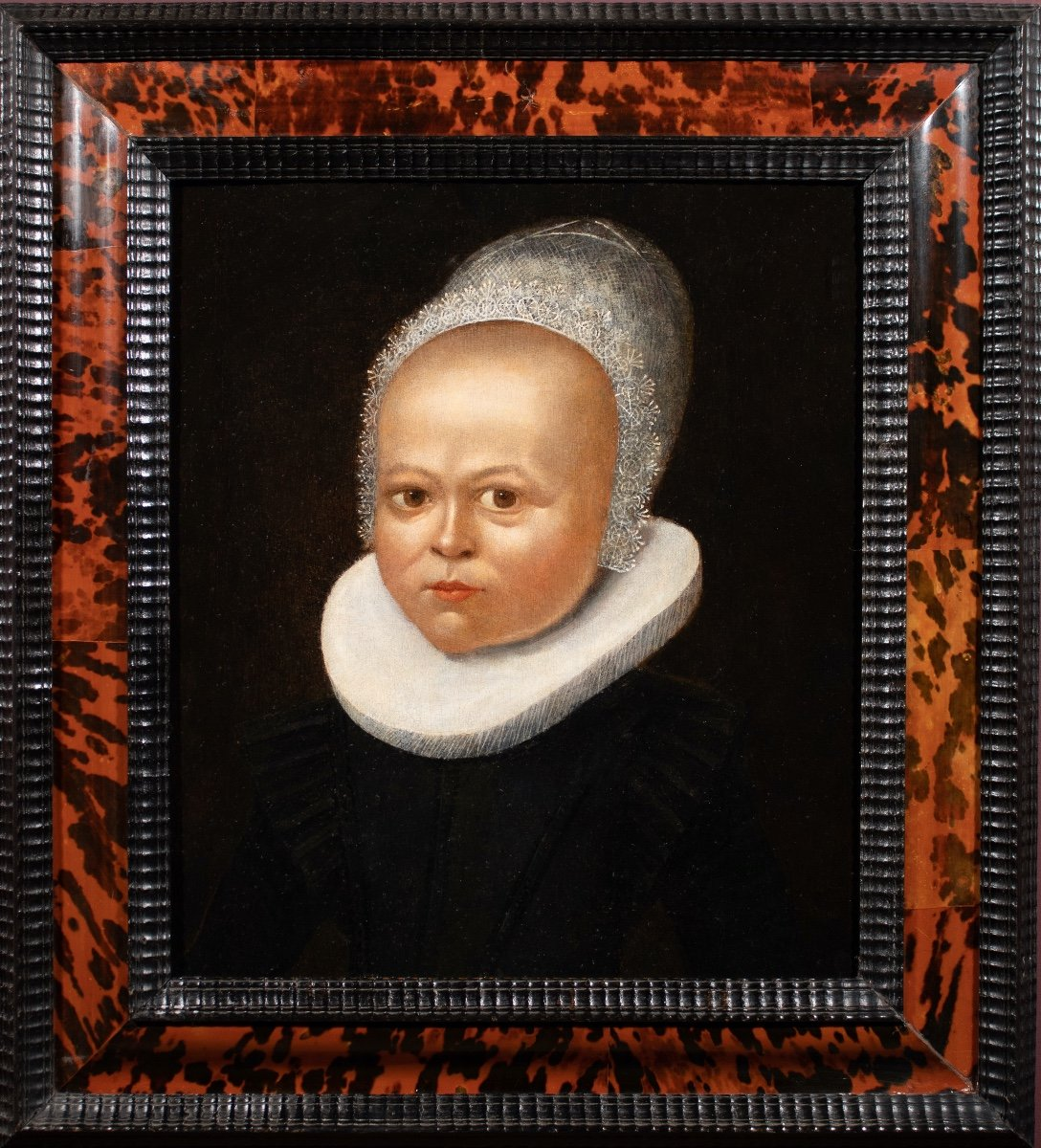 Portrait Of Child In Lace Cap. Flemish School Of The XVIth Century