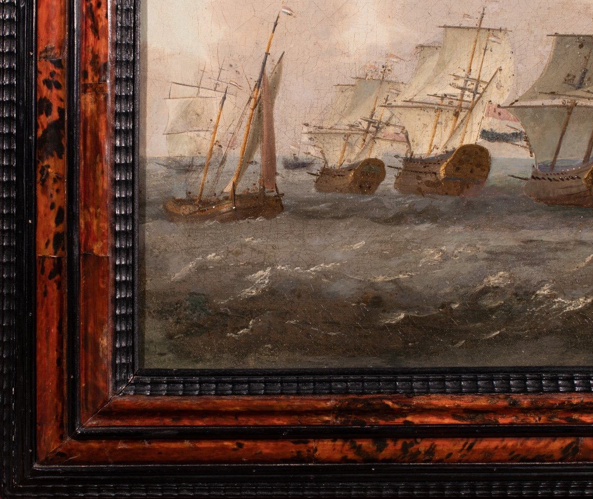 Retour De La Flotte De La Compagnie Des Indes Néerlandaises. École Hollandaise Du XVIIème -photo-3