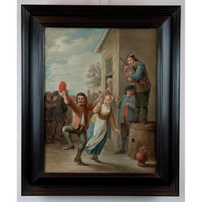 Ecole De David II Teniers (1610-1690). Villageois Dansant Devant L'auberge