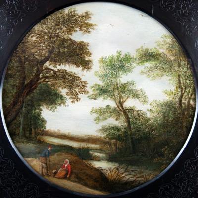 Paysage avec Promeneurs Conversant au Bord d'une Rivière. Ecole Hollandaise Du XVIIème Siècle.
