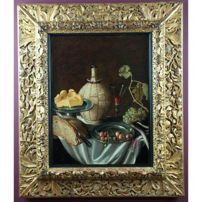 Still Life In La Fiasque, Bread, Butter, Wine, Strawberries And Grapes. Alsatian School Seventeenth S