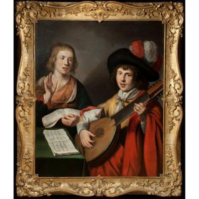 Couple de chanteurs au Théorbe. Peintre Caravagesque nordique du XVIIème siècle.