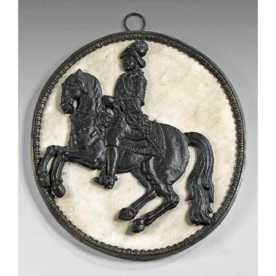 17th Century Period Sign. Cast Iron Horseman In A Marble Medallion