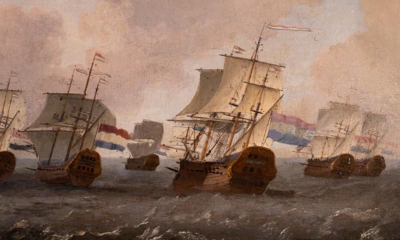 Retour De La Flotte De La Compagnie Des Indes Néerlandaises. École Hollandaise Du XVIIème -photo-2