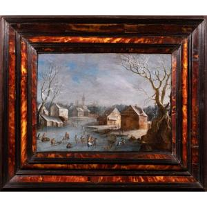 Snowy Winter Landscape With Skaters. Flemish School Of The XVIIth Century.