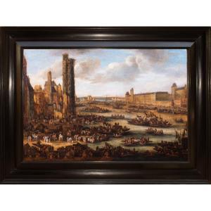 Paris, The Louvre Vu Du Pont-neuf. Pieter Casteels II Said The Younger (c.1650-1701)