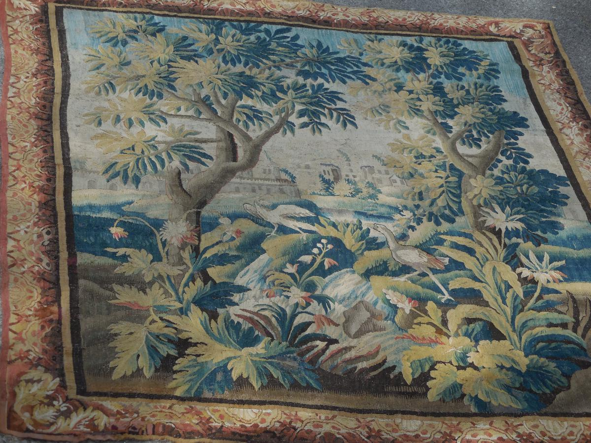Verdure Tapestry Aubusson From Time Middle XVIIIeme Tbe