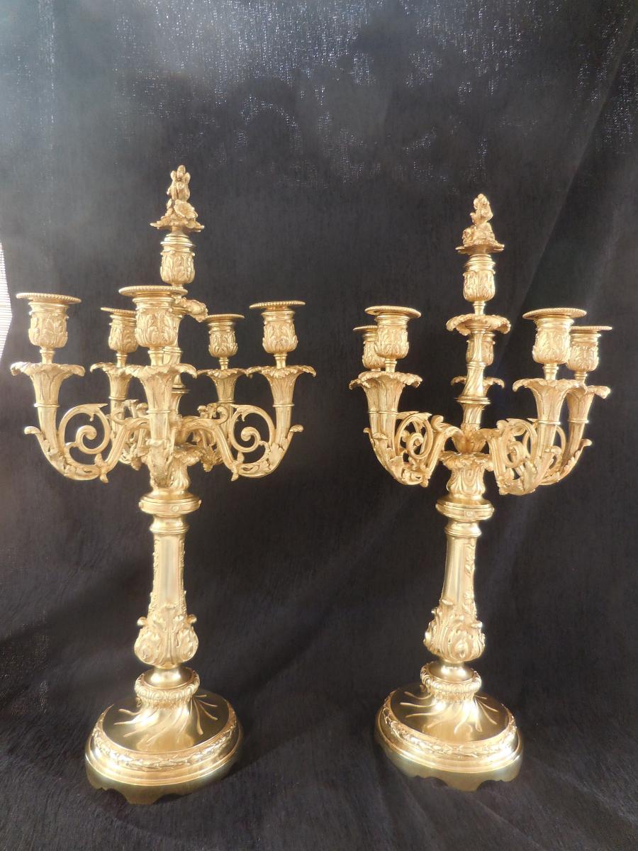 Paire De Grands Candélabres Bronze Doré H 65cm ép XIX E