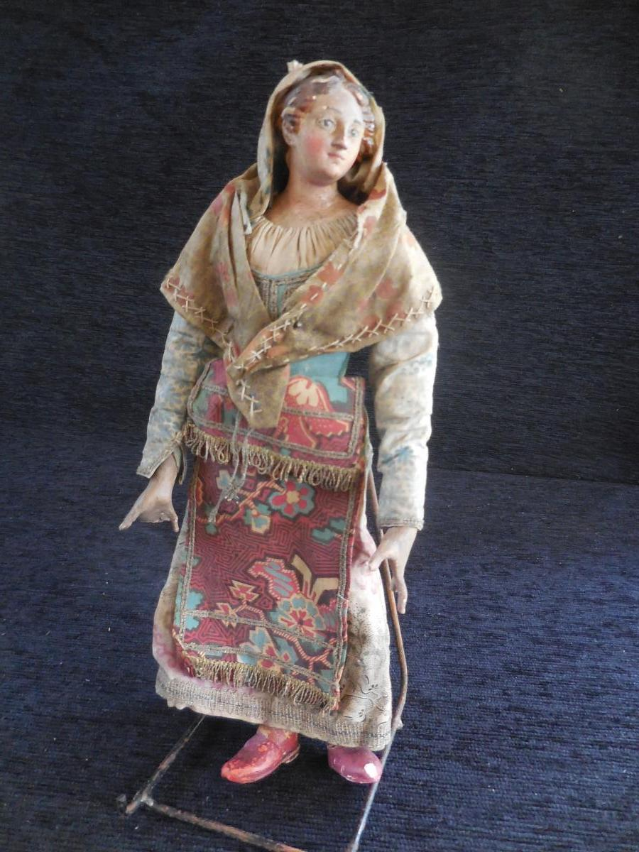 Santon Neapolitan Woman With Fiches H 27 Nineteenth Time