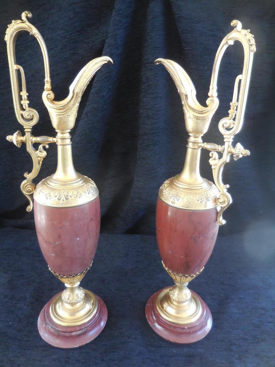Paire d'Aiguières Ornement Bronze Marbre époque XIXèm