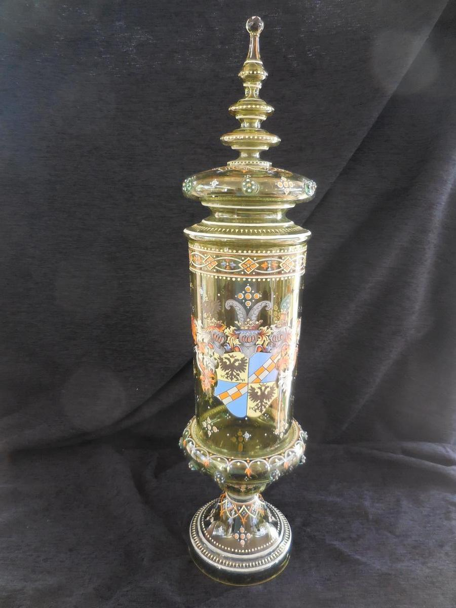 Big Drageoir (pokal) Enamelled Glass ép. XIXth Ht 68cm