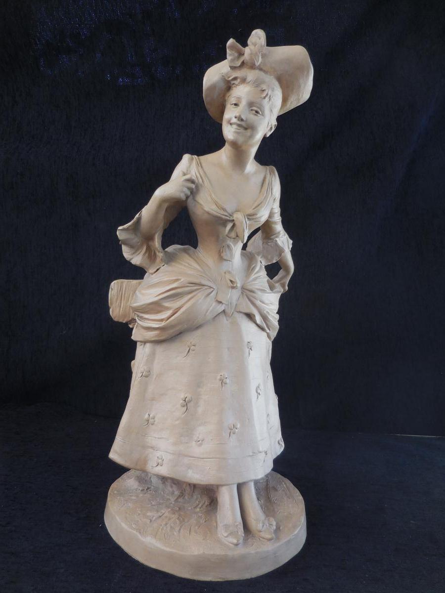 Sculpture Terre Cuite G.van Der Straeten Fin XIXm H 52